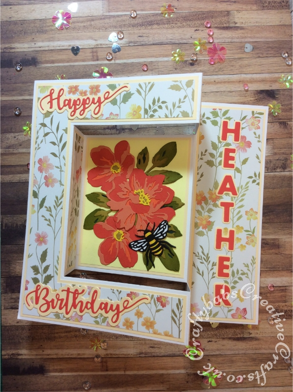 Floral Sideways Stepper Ladies Birthday card made using various dies including Sizzix Thinlits Die Set 10PK - Floral Layers #664359, Sizzix Thinlits Die Set 4PK - Bee #663852, Sizzix Sizzlits Fruit Smoothie alphabet dies and icraft Happy Birthday sentiment dies. - craftybabscreativecrafts.co.uk