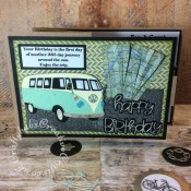 Z Fold travel themed male birthday card made using various dies including Robert Adams All Occasion Dies Camper Van - Metal Craft Dies Set, Sizzix thinlits happy birthday from the everyday sentiment die set and Spellbinders M-Bossabilities - Kickin' Rubber embossing folder. Patterned papers from the Papermania DoCrafts Mr Mister collection. - craftybabscreativecrafts.co.uk
