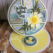"""Easel card made using Card Making Magic Tapis Builder Die set by Christina Griffiths plus nesting circles dies, Gemini Elements Double-Sided Flower Die – Cosmos, Altenew garden picks die, Paper Boutique Sentiment dies and 6"""" x 6"""" paper pads from The Works. - craftybabscreativecrafts.co.uk"""