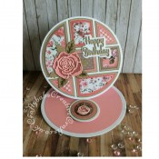 """Easel card made using Card Making Magic Tapis Builder Die set by Christina Griffiths plus nesting circles dies, CMM Christina Griffiths Christmas Rose dies, Altenew rose flourish die, Paper Boutique Sentiment dies and 6"""" x 6"""" paper pads from The Works. - craftybabscreativecrafts.co.uk"""