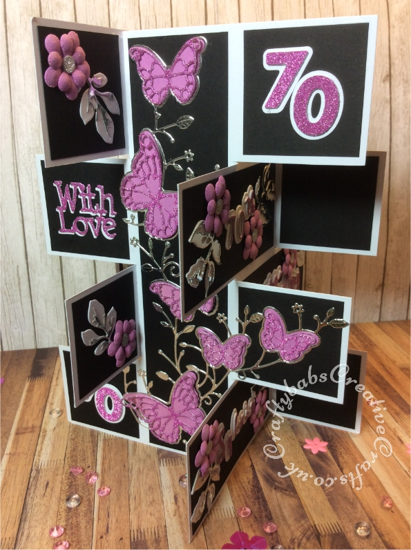 """8"""" x 8"""" Tower block card inspired by Sam Calcott of Mixed Up Craft using various dies including Sizzix Sizzlits alphabet Fruit Smoothie, Memory box Fluttering Corner die, Altenew Garden Picks dies, Gemini Expressions Metal Die – Uppercase and lower case Alphabet Sets. Tattered Lace With Love sentiment die, Cheery Lynn flower dies and iCraft Happy and Birthday sentiment dies. - craftybabscreativecrafts.co.uk"""
